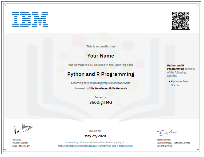 r and python ibm certification
