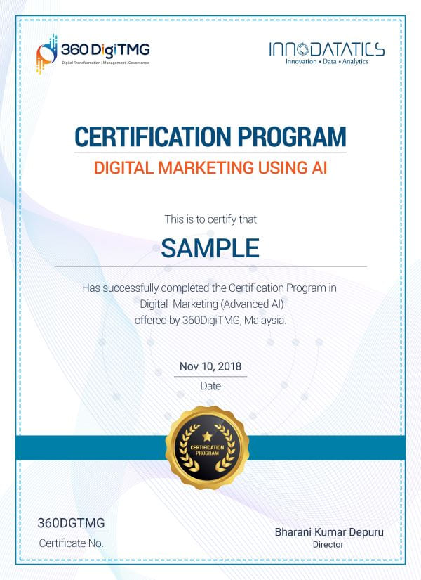 Digital Marketing using AI course certification - 360digitmg