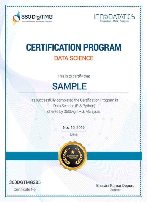 data science certification course - 360digitmg