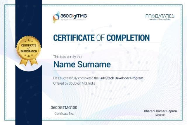 full stack web developer course certification - 360digitmg