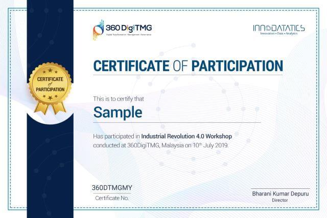 IR 4.0 Workshop certificate - 360digitmg