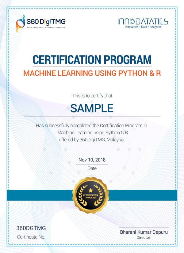machine learning using python & r certification - 360digitmg